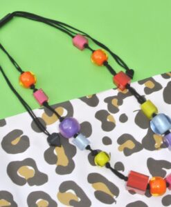 Adjustable Zsiska necklace with various resin beads, multicoloured