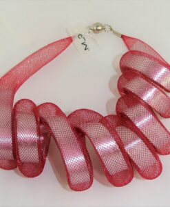 Carla M. elastic, short, red designer necklace