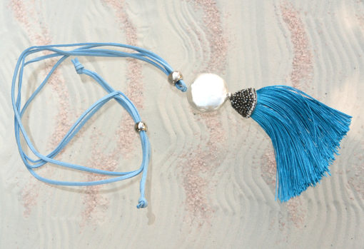 Blue Necklace with large pearl and sparkly hanger with blue tassel