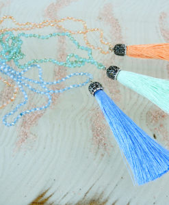 Blue Necklace with sparkly hanger and blue tassel Adele Marie