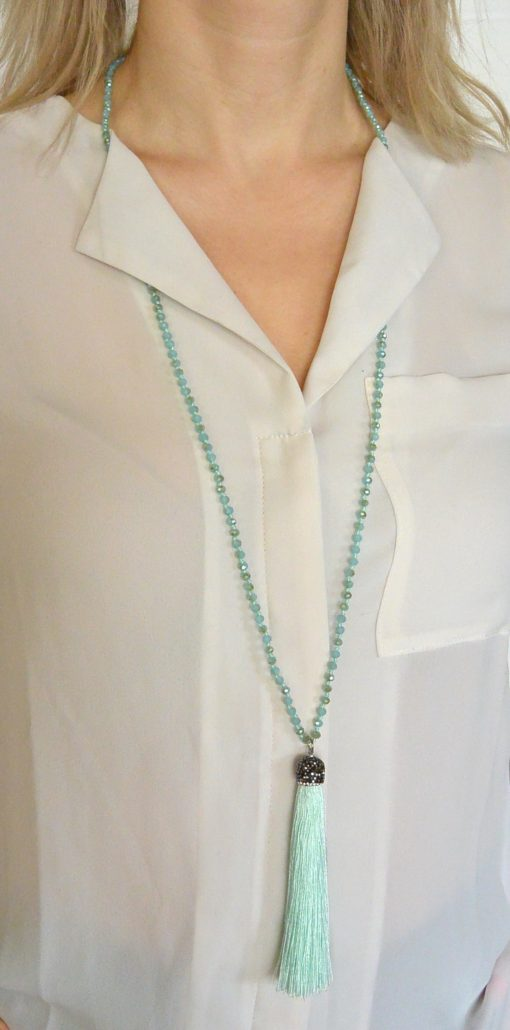 Mint green Necklace with sparkly hanger and mint green tassel Adele Marie