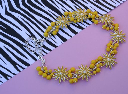 YELLOW FLOWER NECKLACE with pearls by Adele Marie