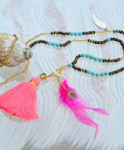 I CANDI Rocks – Bead Necklace, Coral Tassel, Pink Feather, Shells, Silver Leaf