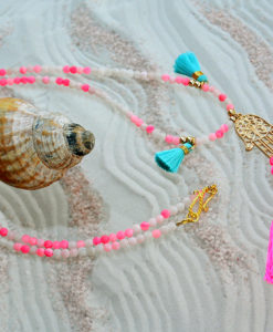Necklace, Hand of Fatima, Pink, I CANDI Rocks