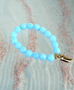 I CANDI Rocks – Elasticated pearl bracelet, Sharks Tooth, Blue
