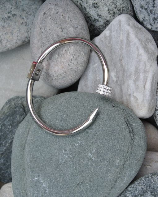 Clasp Bangle with Glitter Stones on one side, Adele Marie