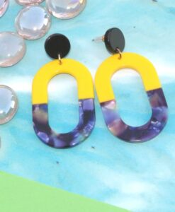 Oval, colourful stud earrings by big metal london