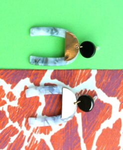 Tortoiseshell Horseshoe, metal stud earrings by big metal london