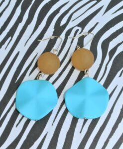 big metal london – Colourful and happy big hanging earrings, vibrant blue/brown