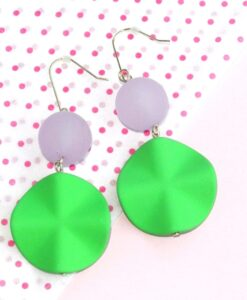 big metal london – Colourful and happy big hanging earrings, vibrant green/light pink