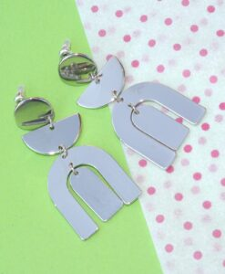 big metal london - mirror horseshoe, metal stud earrings