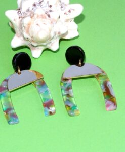 big metal london - horseshoe, multi resin & metal stud earrings