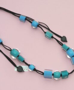 Adjustable Zsiska necklace with various resin beads, blue