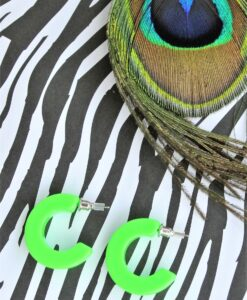 big metal london – neon coloured small creole earrings, neon green