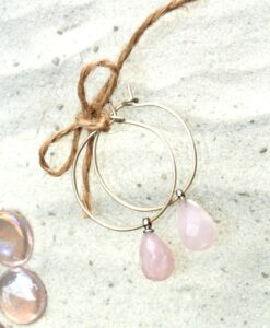 Evelynsdottir - Handcrafted silver creole earrings with mit bevelled rose quartz pearls