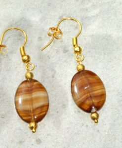 Evelynsdottir – Real gold plated earrings with glass pendent in gorgeous in an amber look