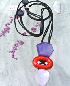 Zsiska - trendy statement, pendant, adjustable necklace with 3 big pendant stones, purple/red/pink
