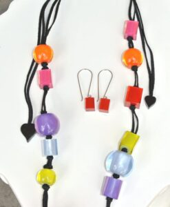 Zsiska Set – beautiful adjustable colourful cubes resin necklace + resin earrings, red