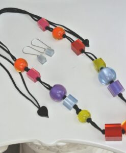 Zsiska Set – beautiful adjustable colourful cubes resin necklace + resin earrings, silver