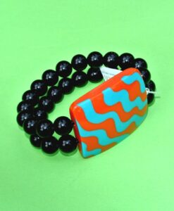 Zsiska – Acapullco beautiful elasticated designer statement bracelet, 1 big resin bead, burnt orange/turquoise, size L