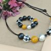ZSISKA Audrey houndstooth yellow resin adjustable necklace