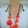 ZSISKA Laguna red round adjustable necklace + earrings